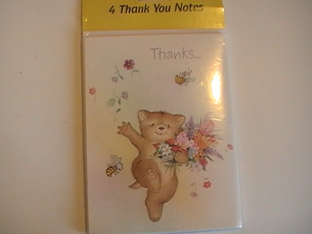 Wishing Well Springtime Bear Thank You Note Cards