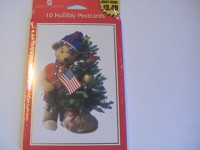 American Greetings Holiday Christmas Bear Postcards
