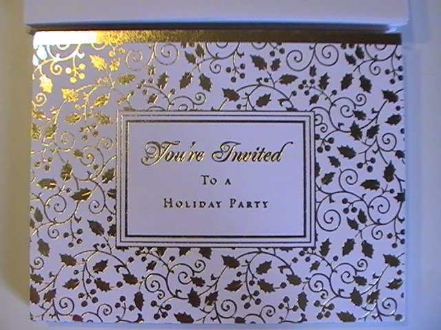 Economy Value Gold Accent Holiday Invitation Cards