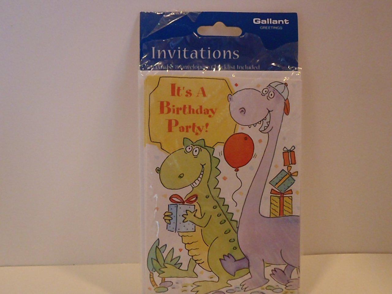Gallant Dinosaur Birthday Party Invitation Cards
