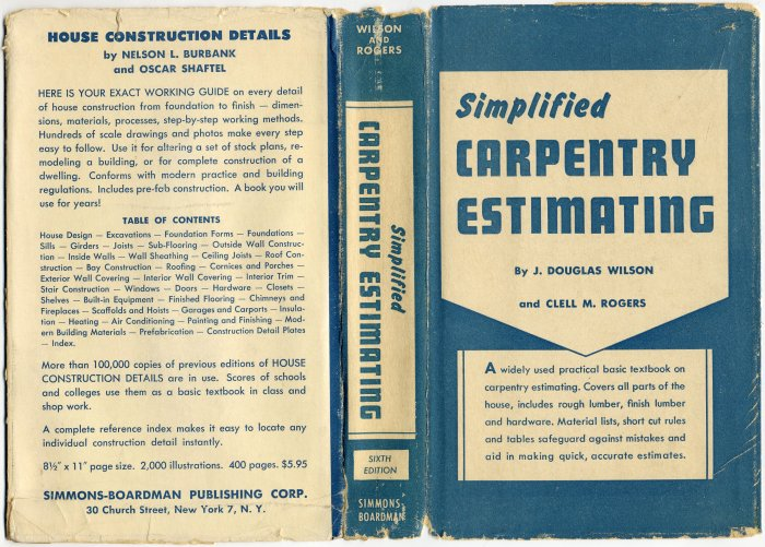 Vintage 60s Simplified Carpentry Estimating (HC) Wilson & Rogers Vintage Book