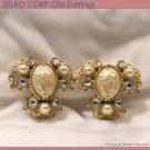SELRO Baroque Clip Earrings Gold Tone Faux Pearl Rhinestone Filigree Fashion Jewelry 50s