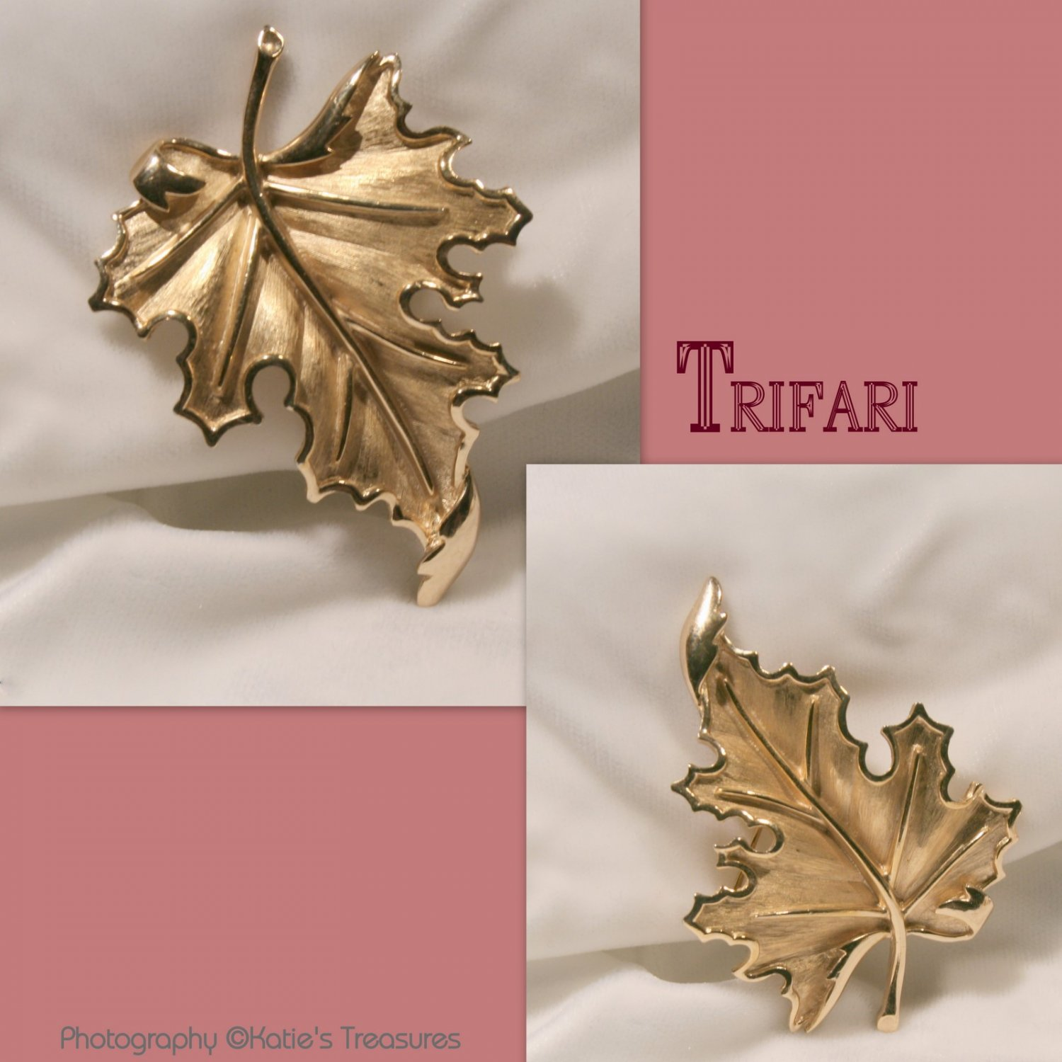 Vintage 70s Trifari Maple Leaf Brooch Pin Goldtone Fashion Jewely