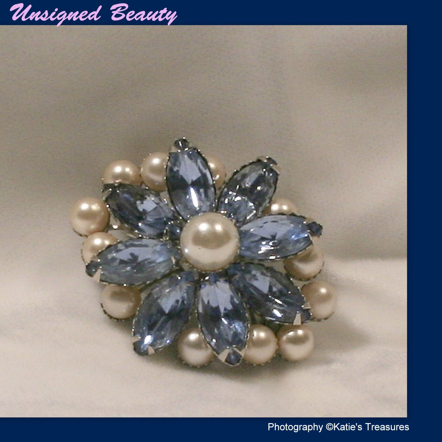 Sky Blue Glass Stones & Faux White Pearls Silver tone Brooch Fashion Jewelry Retro 50s 60s