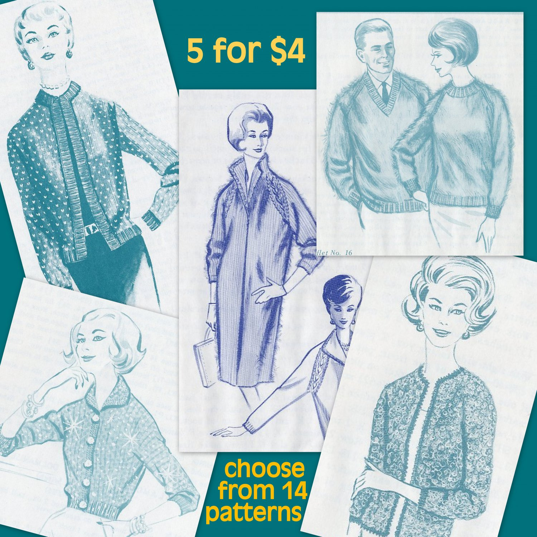 Vintage 50s 60s Knitting and Crochet Patterns 5 for $4 - Oregon Worsted - Women Men Girls