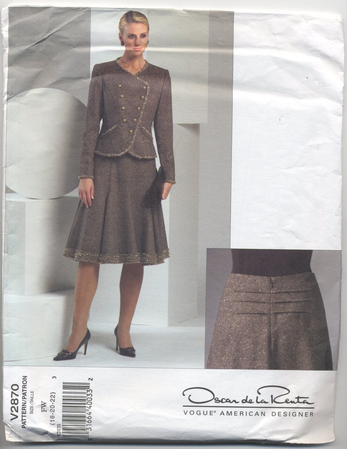 Vogue 2870 Oscar de la Renta Designer Jacket and Skirt Sewing Pattern Misses' 18 20 22 Dressy Chic
