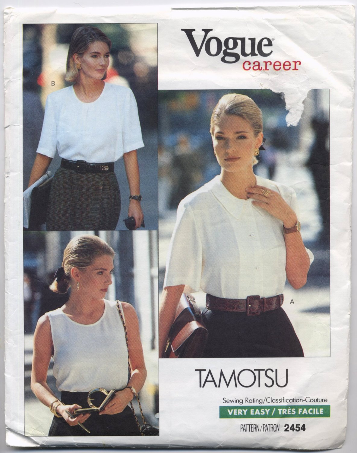 Vogue 2454 Top and Blouses Tamotsu Sewing Pattern Misses' 6 8 10 Office School Casual Weekend