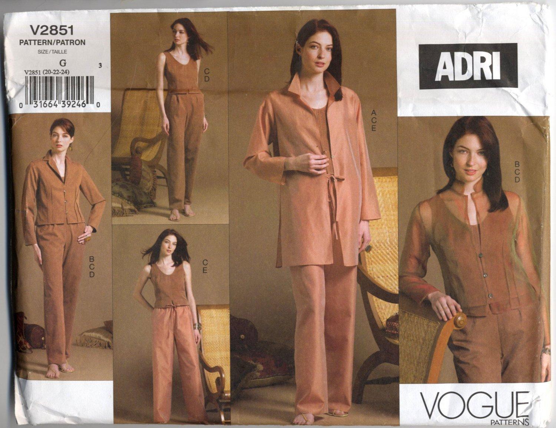 Vogue 2851 Shirt Jacket Top Pants ADRI Sewing Pattern Misses' 20 22 24 Office Weekend Wardrobe