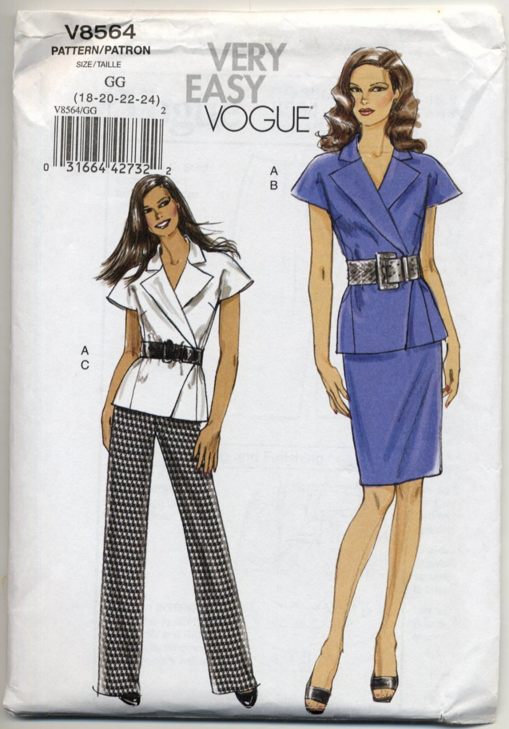 Vogue 8564 Jacket Skirt Pants Very Easy Sewing Pattern Misses' 18 20 22 24 Office Chic