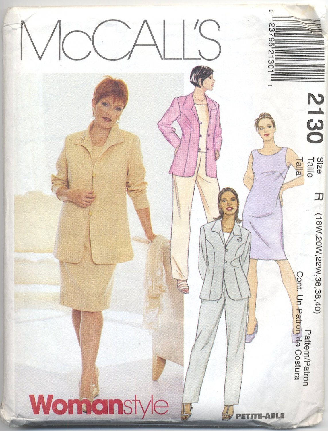 McCall's 2130 Lined Jacket Dress Top Pants Sewing Pattern Women's 18W 20W 22W Office Basic Suit