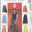 McCall's 4474 Gored Skirts Sewing Pattern Women's 26W 28W 30W 32W Office Asymmetrical Godet
