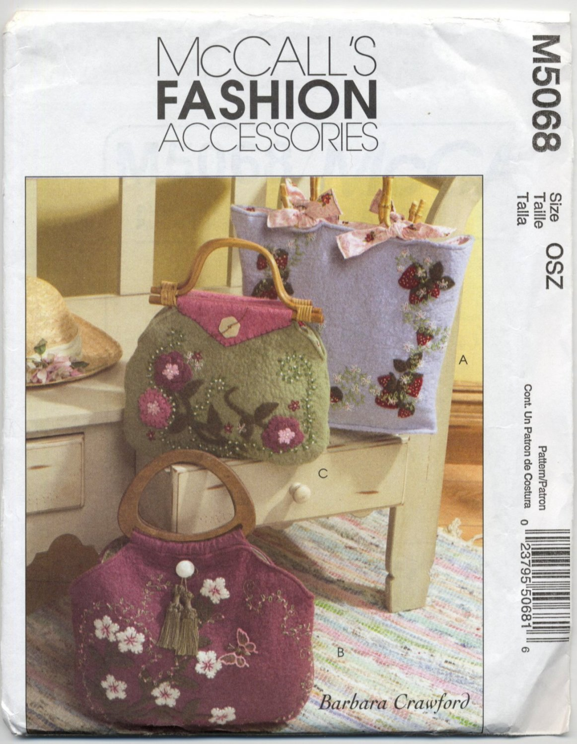 McCall's 5068 Lined Felt Handbags Applique & Embroidery Embellishment Sewing Pattern Inside Pocket
