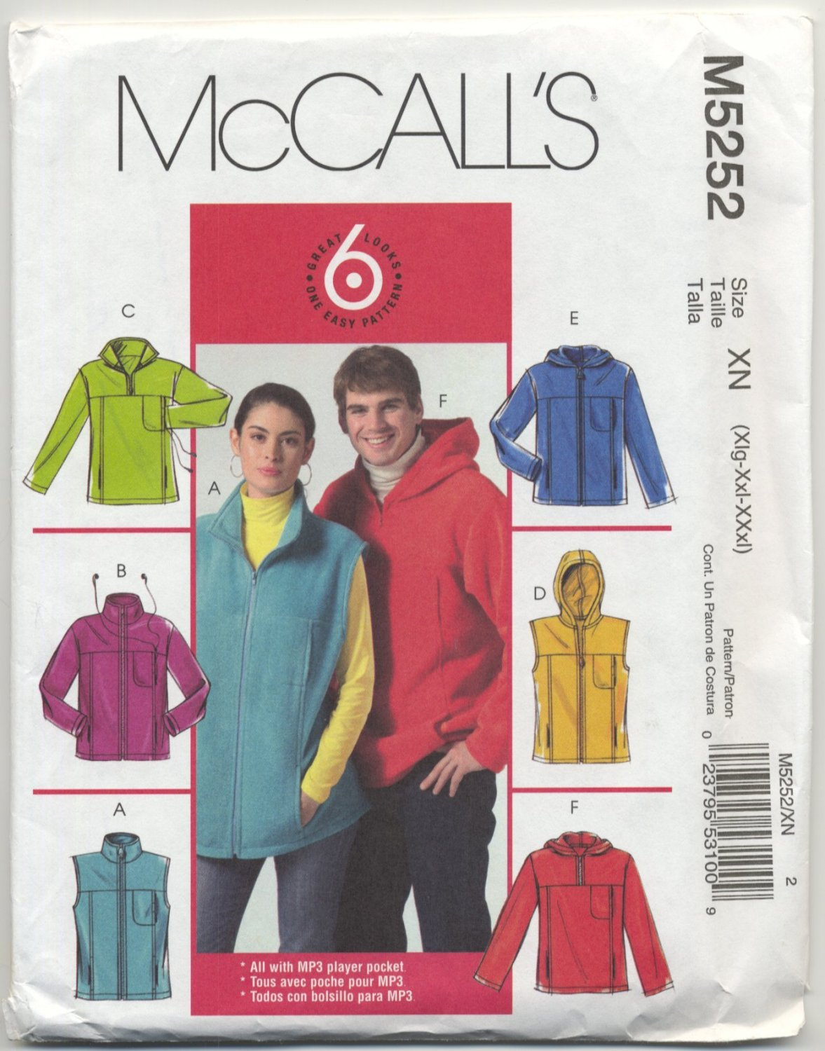 """McCall's 5252 Unlined Vests & Jackets Sewing Pattern Unisex XL XXL XXXL Chest 46""""-56"""""""