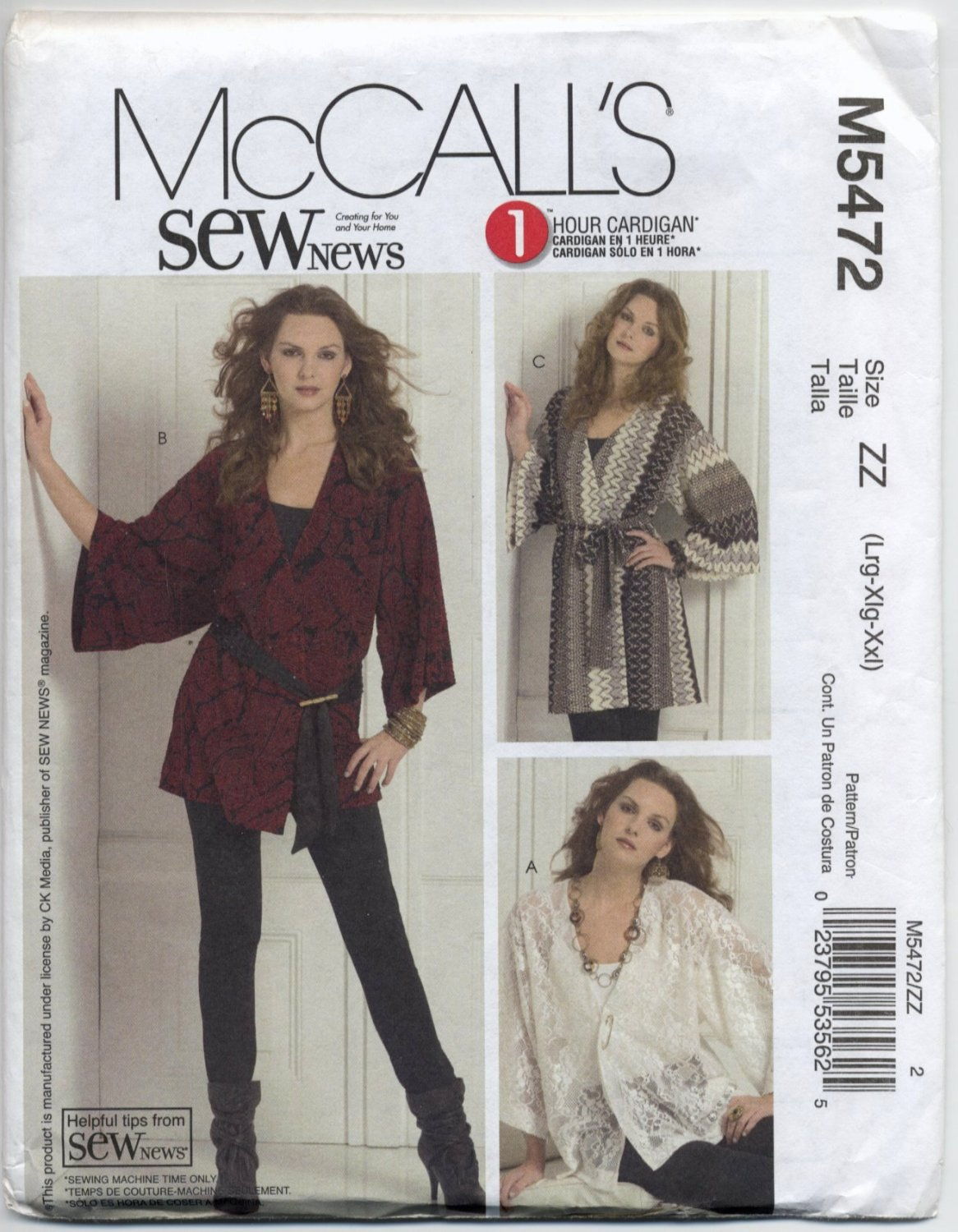 McCall's 5472 SewNews Cardigan - Three Lengths & Belt Sewing Pattern Misses' 16 18 20 22 24 26 Knits