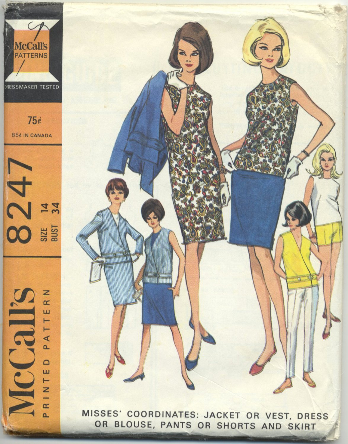 "McCall's 8247 Jacket Vest Dress Blouse Pants Shorts Sewing Pattern Misses' 14 Bust 34"" Vintage 60s"