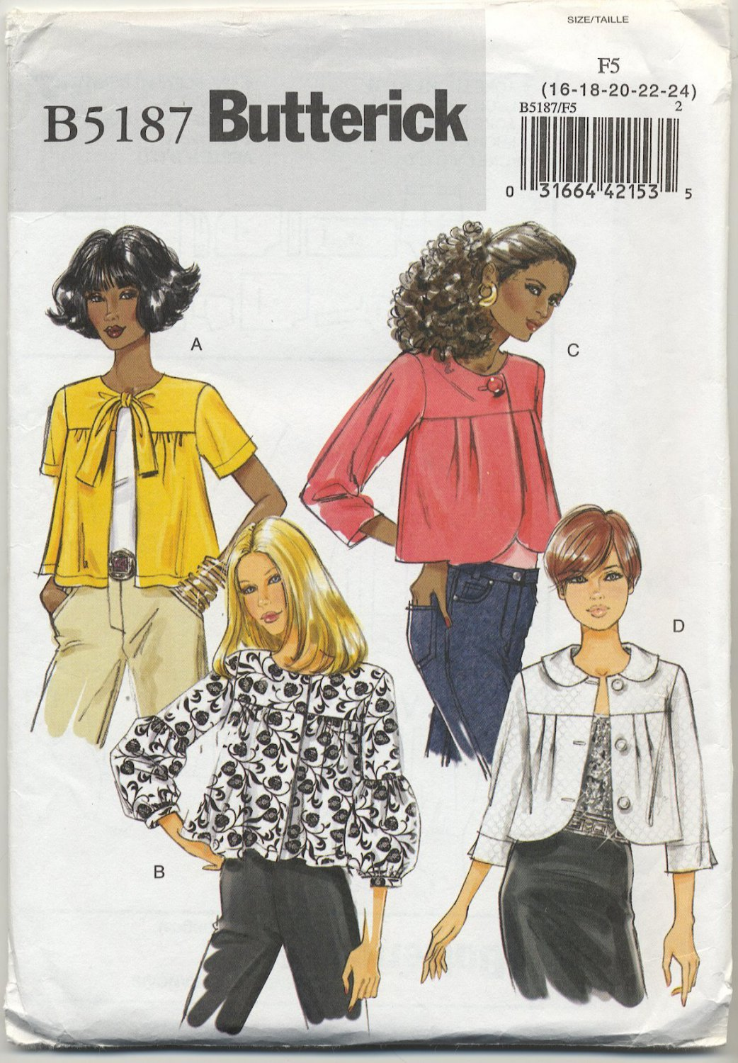 Butterick 5187 Jackets - Easy Sewing Pattern Misses' 16 18 20 22 24 Casual or Dressy Cropped Topper