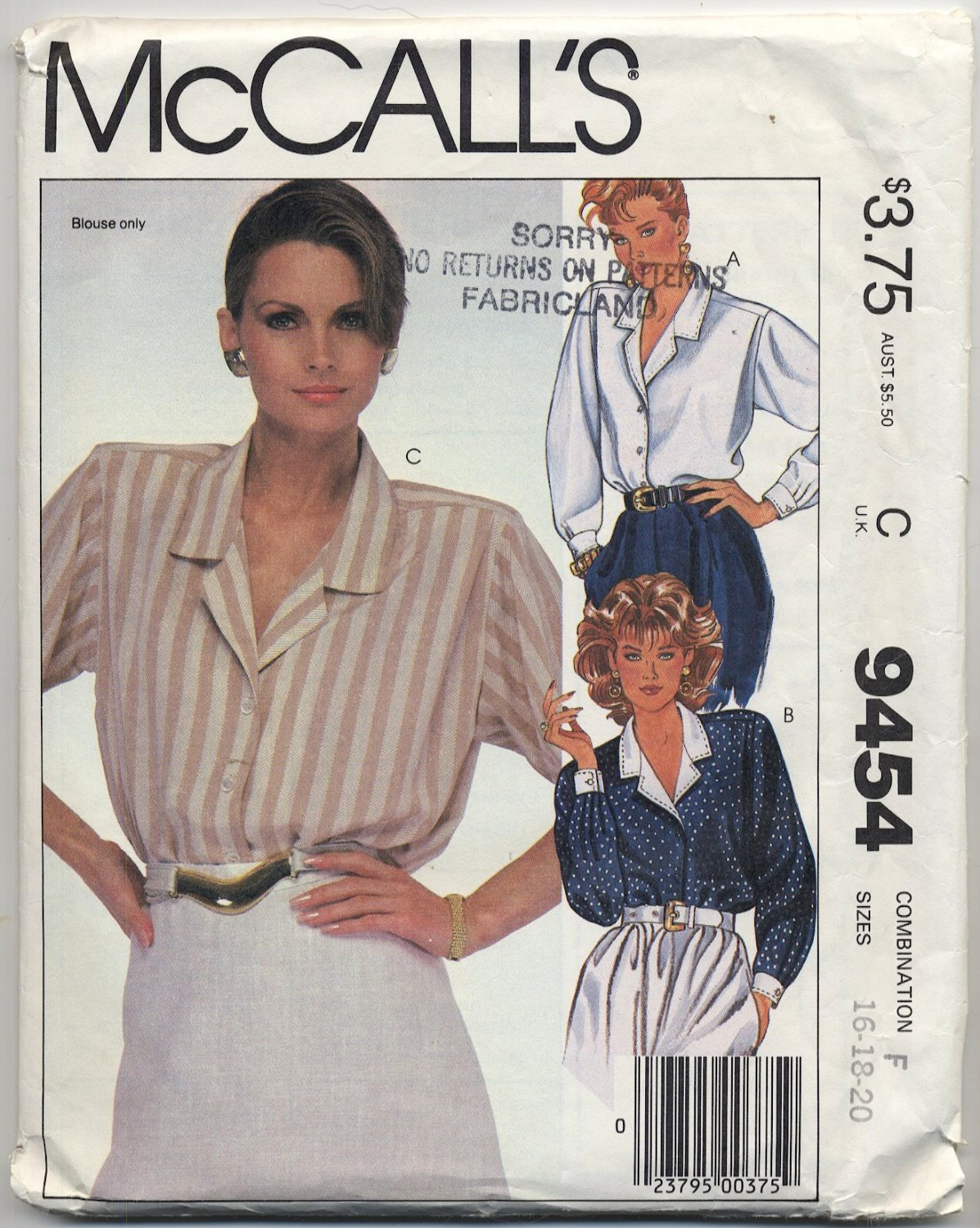 McCall's 9454 Blouses Sewing Pattern Misses' 16 18 20 Button Closure Back Yoke Office Professional