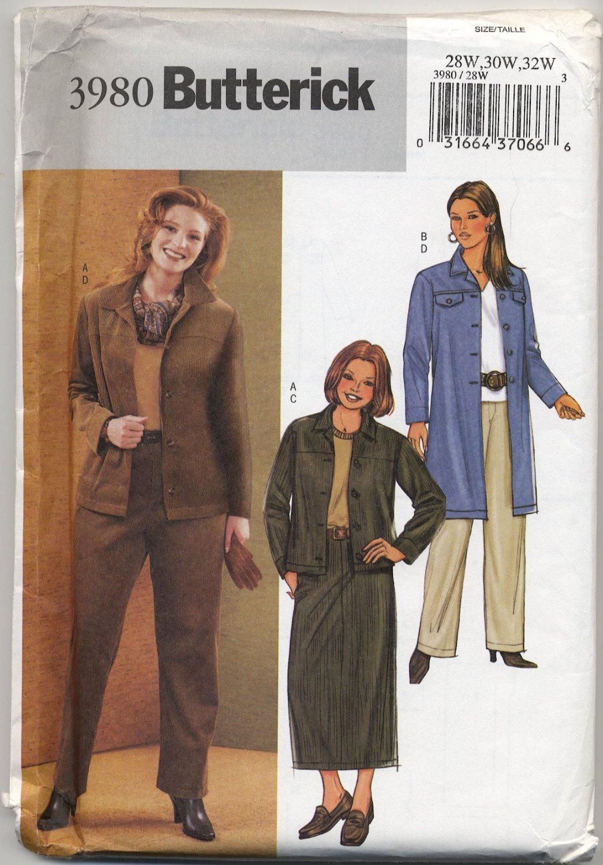 Butterick 3980 Jacket Skirt & Pants Easy Sewing Pattern Women's 28W 30W 32W A-Line Skirt