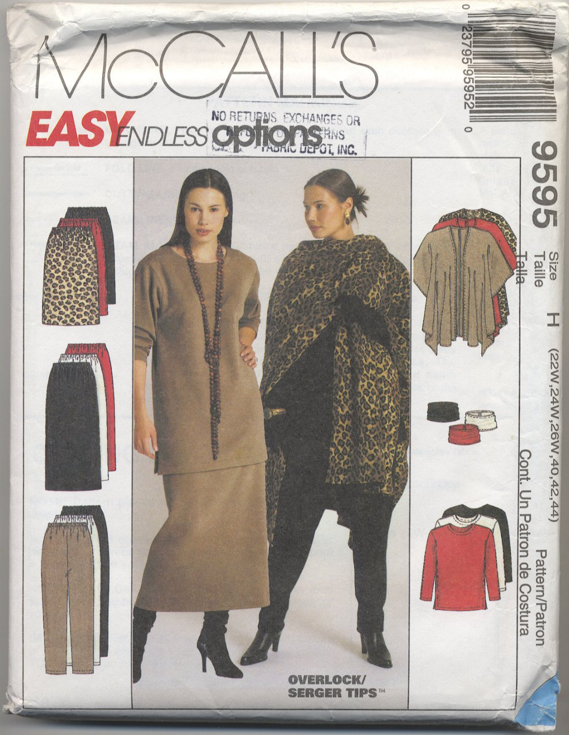 McCall's 9595 Cape Tunic Cowl Pants & Skirt Sewing Pattern Women's 22W 24W 26W Easy Winter Wardrobe