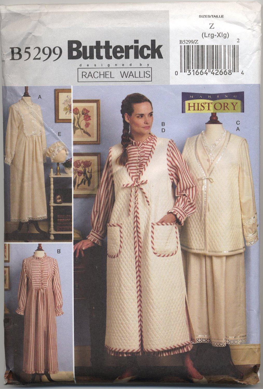Butterick 5299 Nightgown Vest Robe & Bonnet Sewing Pattern - Misses' 16 18 20 22 - Rachel Wallis