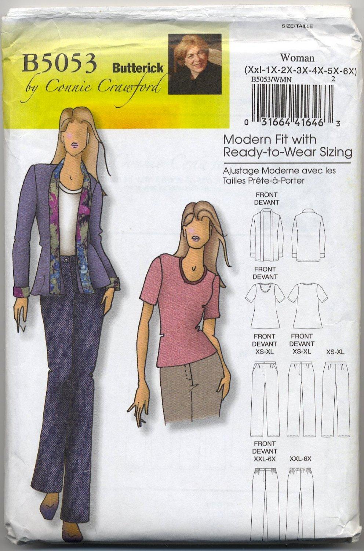 Butterick 5053 Connie Crawford Jacket Blouse & Pants Sewing Pattern Women's Xxl 1X 2X 3X 4X 5X 6X