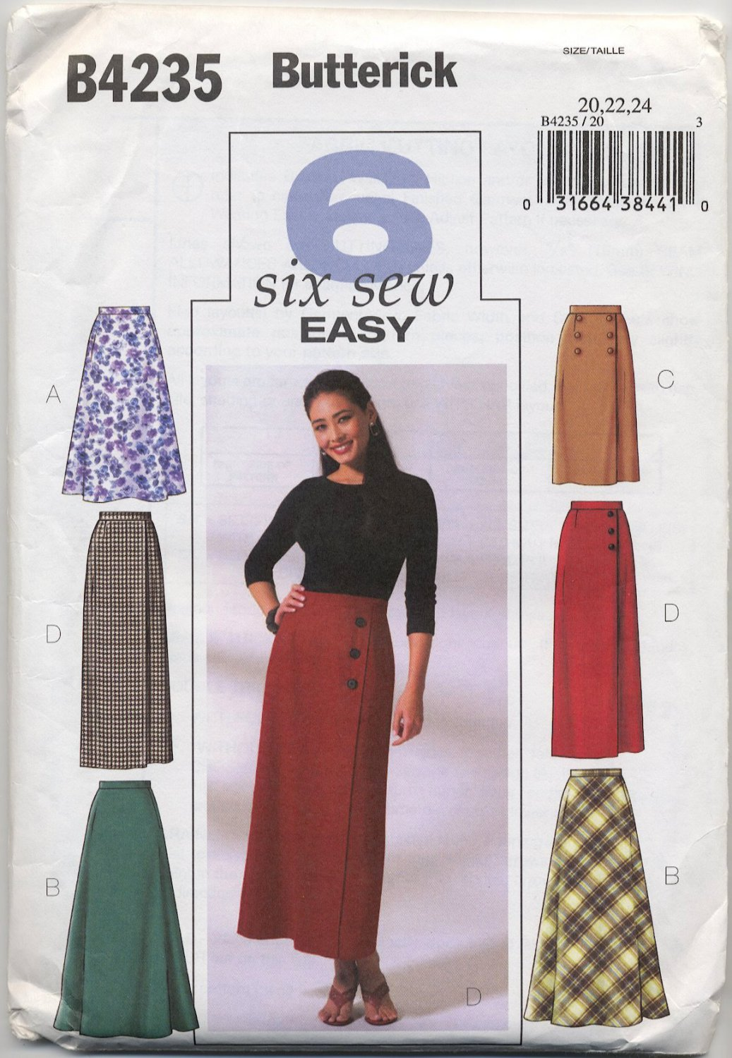 Butterick 4235 Six Skirts Easy Sewing Pattern Misses' 20 22 24 Chic All Season Staple