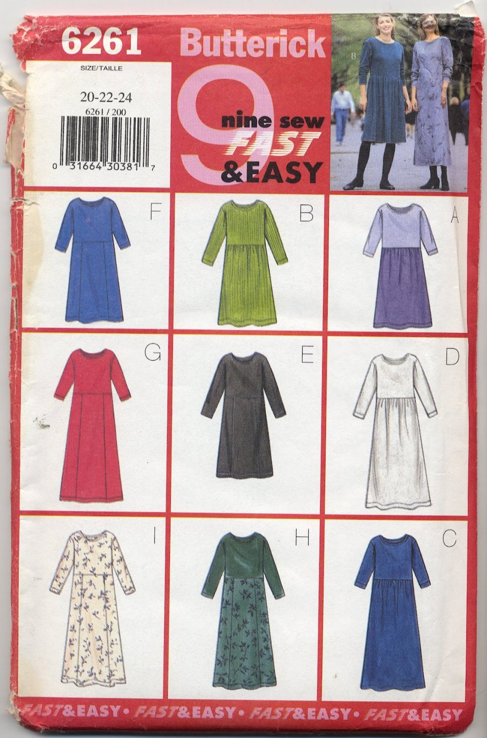 Butterick 6261 Dresses - Very Easy Sewing Pattern Misses' 20 22 24 Cozy Casual Comfort