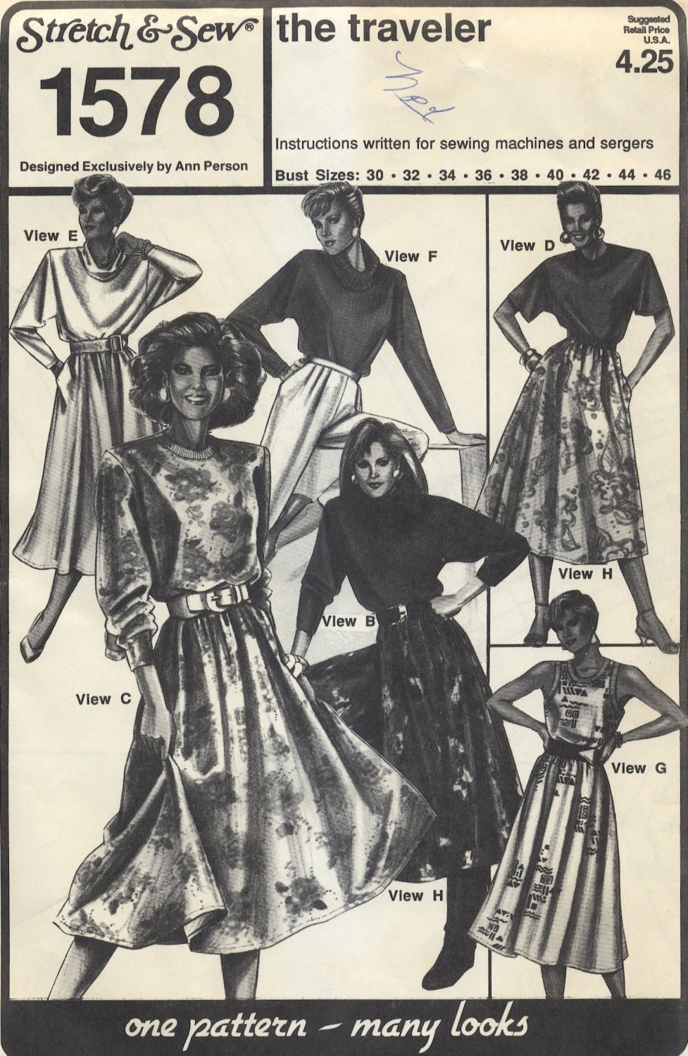 Stretch & Sew 1578 the traveler -CUT- Top, Skirt & Dress Sewing Pattern Misses' 6 8 10 12 14 16