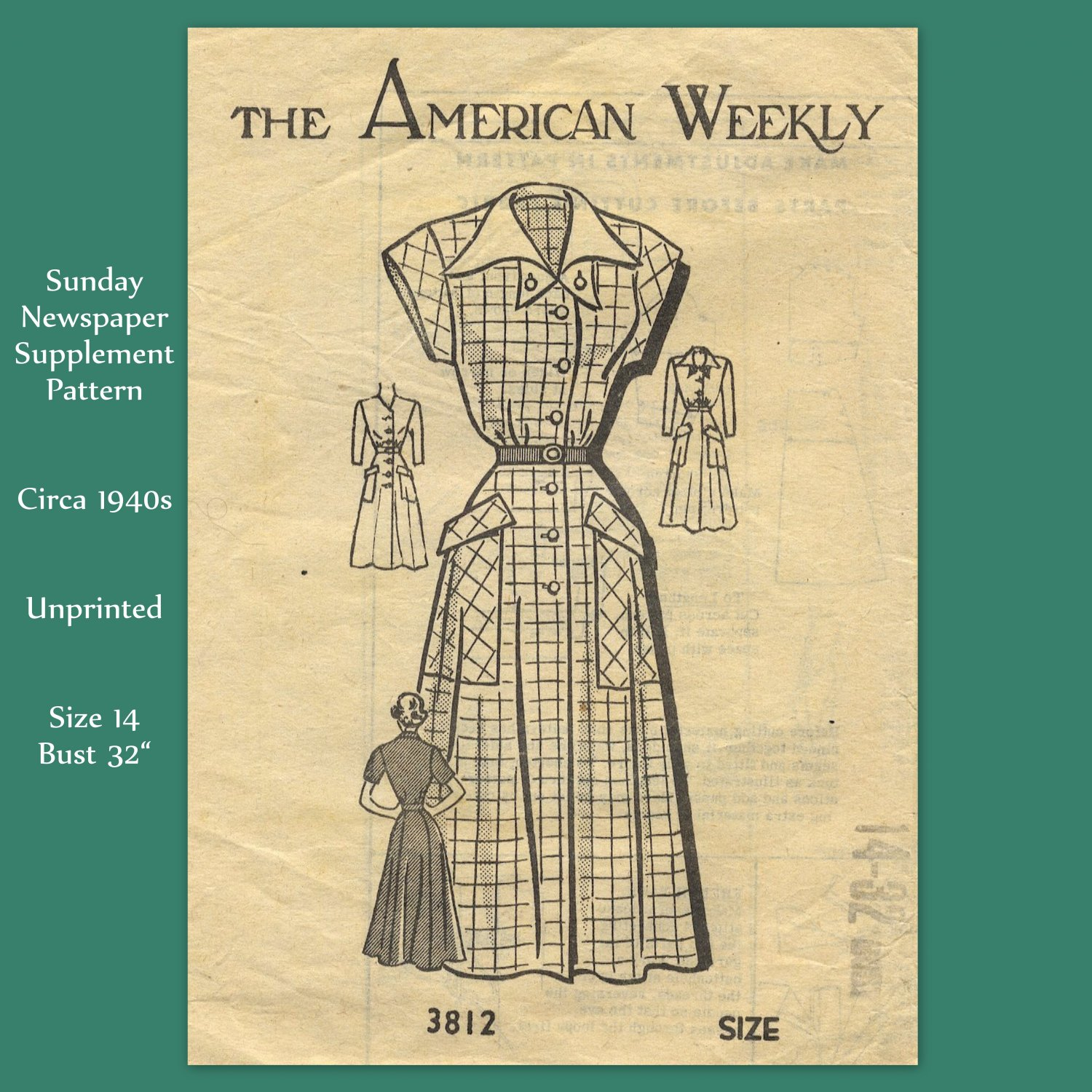 """The American Weekly 1940s Dress - Unprinted Sewing Pattern - Size 14 Bust 32"""""""