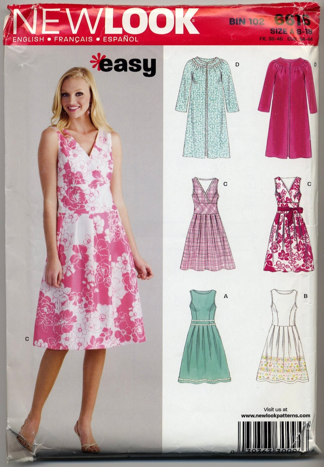 New Look 6616 Dress & Coat Easy Sewing Pattern Misses\' 8 10 12 14 16 ...