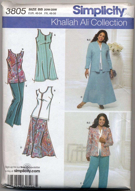 Simplicity 3805 Top, Skirt, Pants and Jacket Sewing Pattern Women's 20W 22W 24W 26W 28W Khaliah Ali