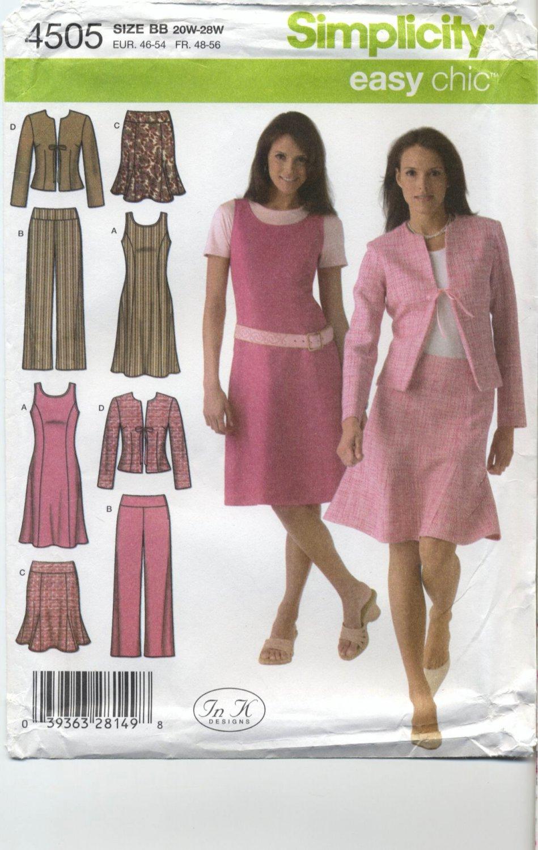 Simplicity 4505 Jumper, Pants, Skirt & Jacket Sewing Pattern Women's 20W 22W 24W 26W 28W