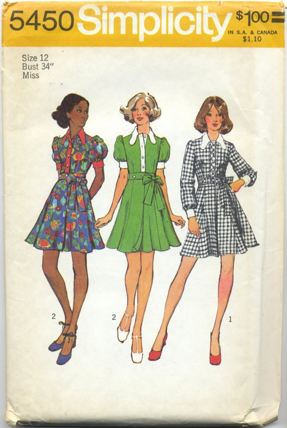 """Simplicity 5450 Mini-Dress with Wrap Skirt - - Sewing Pattern Misses' 12 Bust 34"""" Flirty Vintage 70s"""