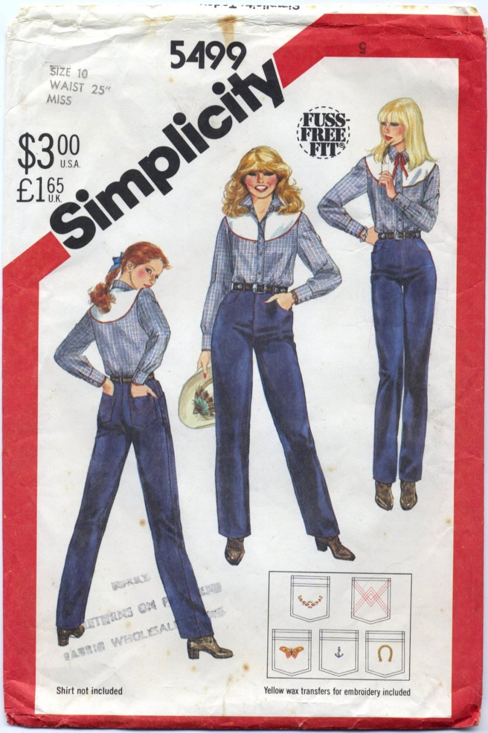 "Simplicity 5499 Close-Fit Jeans - - Sewing Pattern Misses' 10 Waist 25"" Unused Transfers Included"