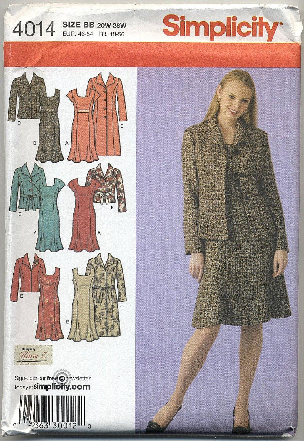 Simplicity 4014 Coat, Jacket & Dress - Sewing Pattern Women's 20W-28W Karen Z Wardrobe