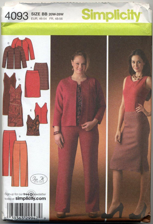 Simplicity 4093 Top Dress Pants Skirt Jacket Sewing Pattern Women's 20W 22W 24W 26W 28W Sleek Looks