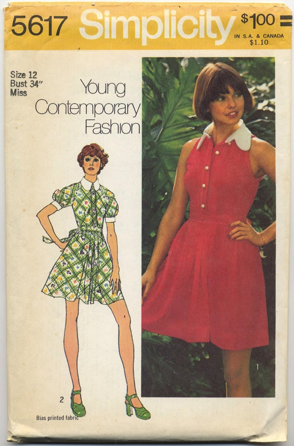 """Simplicity 5617 Dress in Two Lengths - Sewing Pattern Miss Size 12 Bust 34"""" Sweet 70s Cool"""