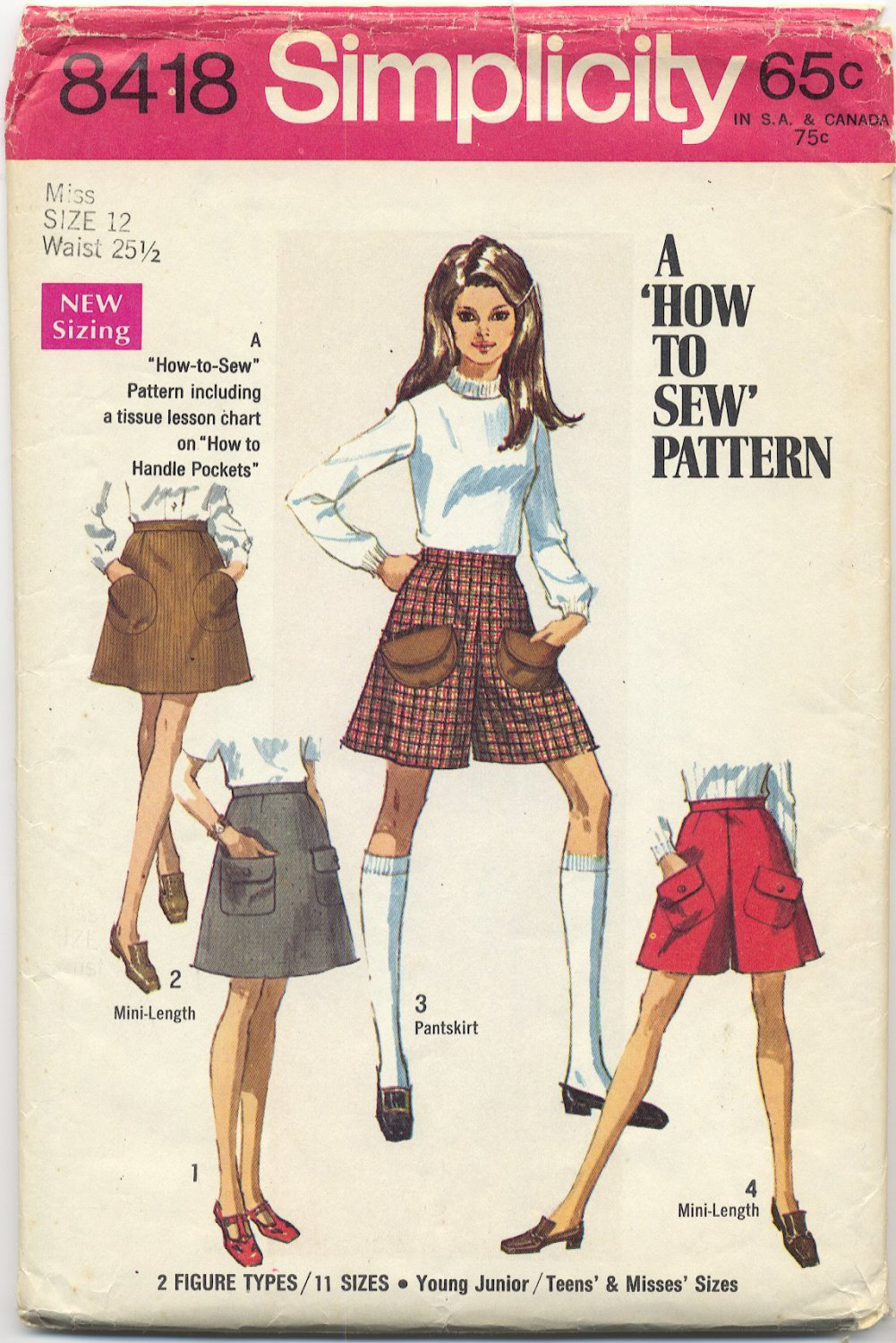 Simplicity 8418 Skirt Two Lengths & Mini-Pantskirt (Cut) Sewing Pattern Miss Size 12 1970s Culottes