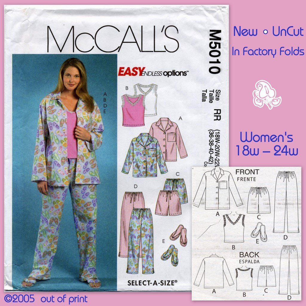 McCall's 5010 Shirt Top Shorts Pants Slippers Sewing Pattern Women's 18W 20W 22W 24W (Top in Knits)