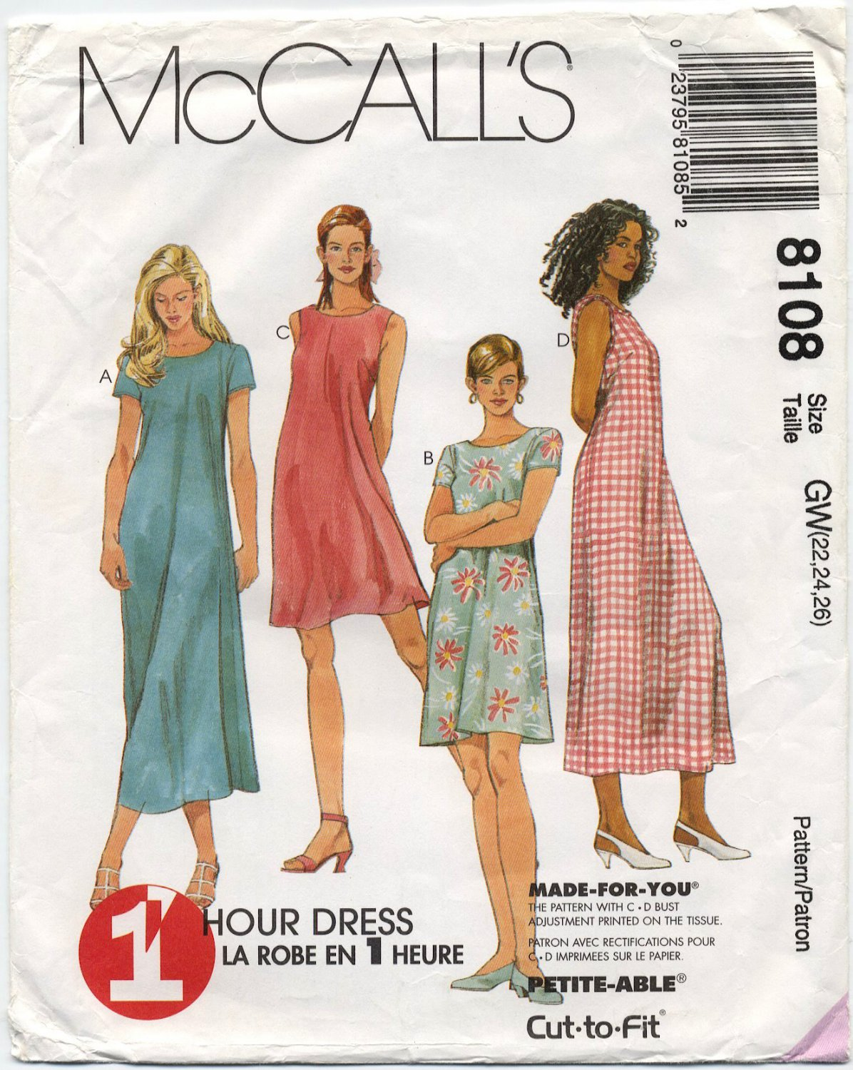 McCall's 8108 Dress in Two Lengths - Sewing Pattern - Misses' 22 24 26 with Bust Adjustment