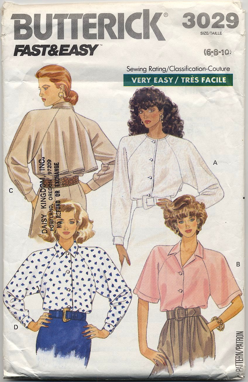 Butterick 3029 Shirt - - (Cut) - - Very Easy Sewing Pattern - Misses' 6 8 10 - Circa 1980s