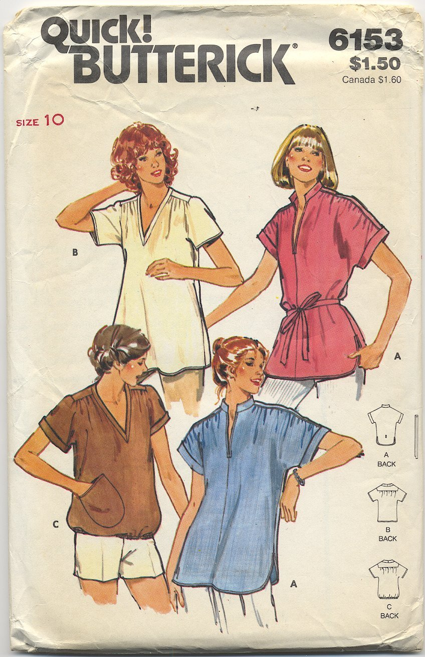 Butterick 6153 Tops - - (Cut) Sewing Pattern - - Misses' 10 - Circa 1980s Easy Fit