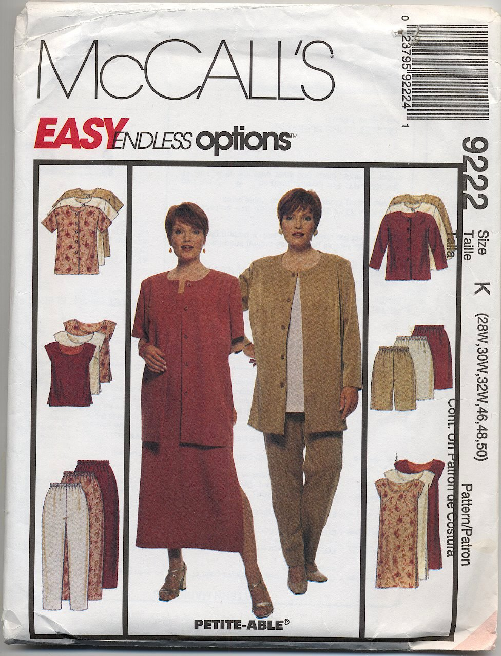 McCall's 9222 Easy Unlined Jacket Dress Top Pants & Shorts Sewing Pattern Women's 28W 30W 32W