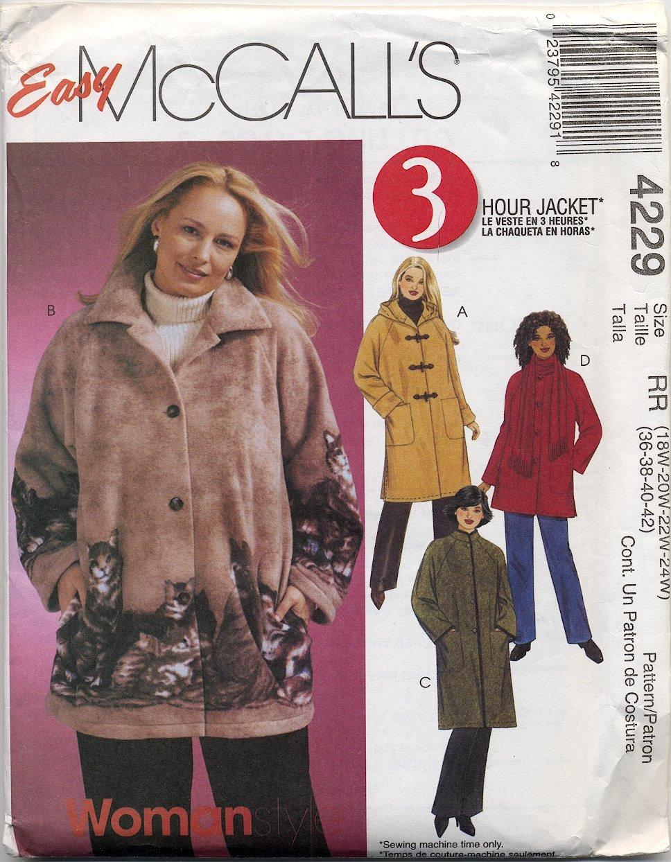 McCall's 4229 Unlined Jacket & Scarf Sewing Pattern Women's 18W 20W 22W 24W Raglan Sleeves Hood