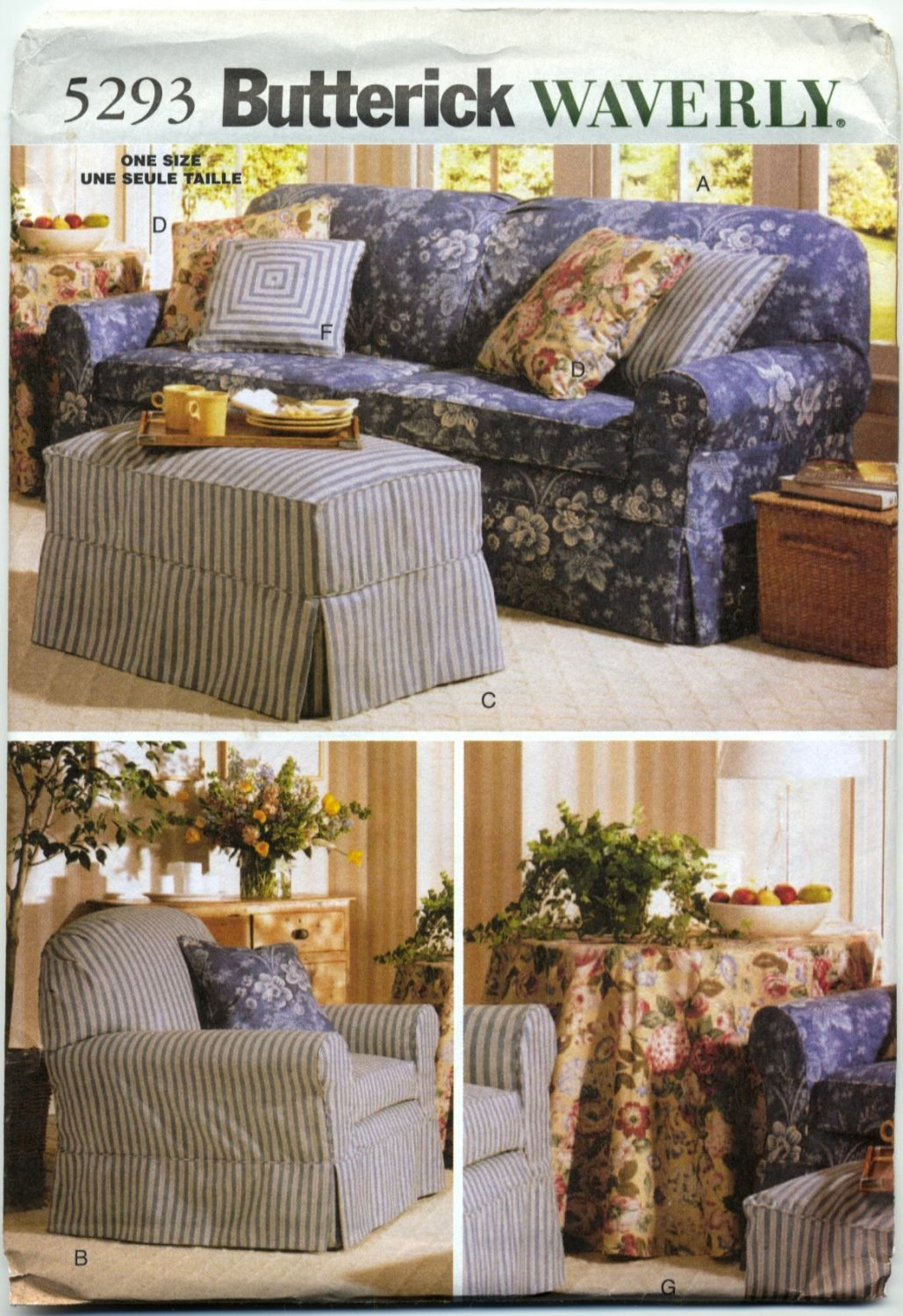 Butterick 5293 Slipcovers - Waverly Home Dec Sewing Pattern - One Size