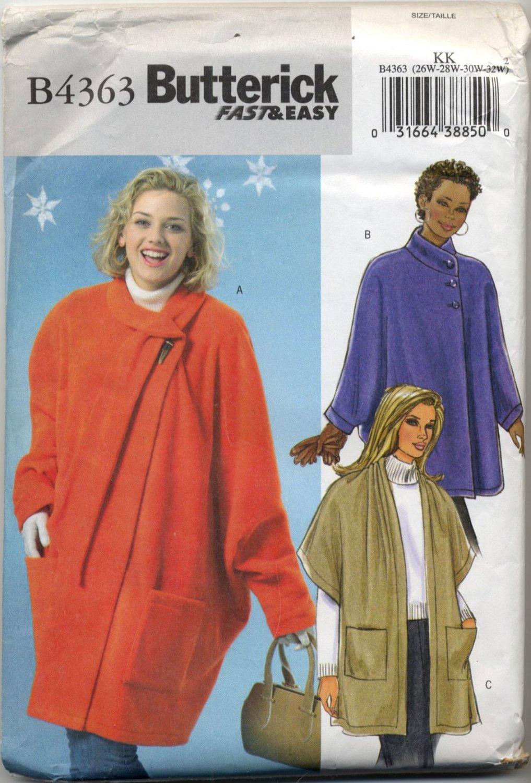 Butterick 4363 Fleece Wraps - Sewing Pattern - Women's 26W 28W 30W 32W Cozy Capes with Sleeves