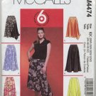 McCall's 4474 Gored Skirts Sewing Pattern Women's 26W 28W 30W 32W Office Asymmetrical Godet