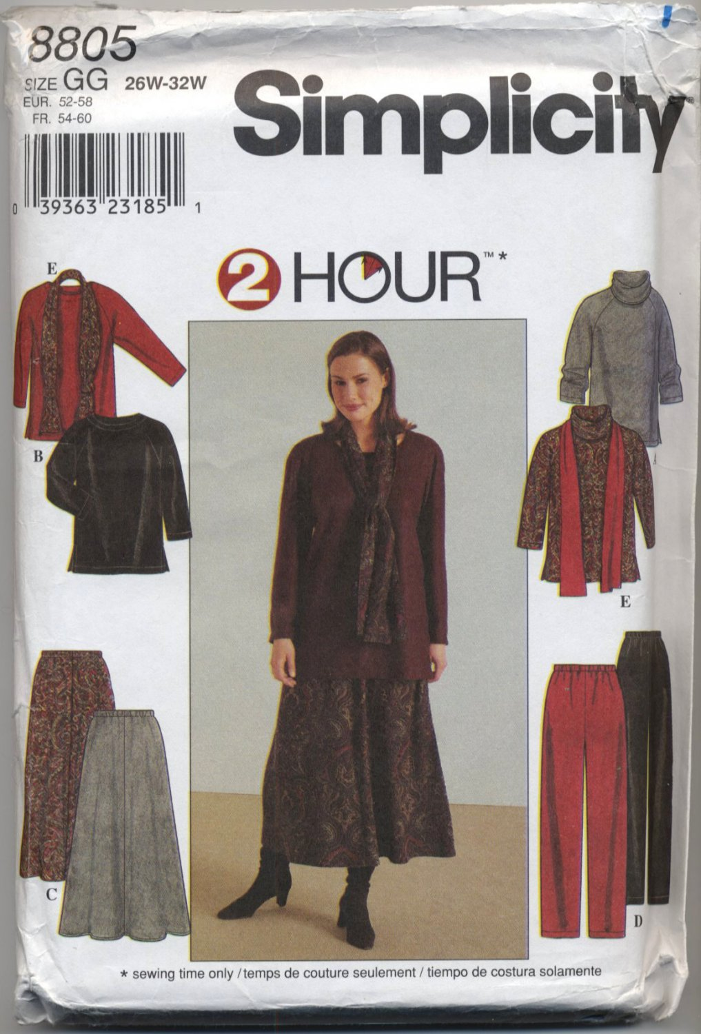 Simplicity 8805 Top, Skirt, Pants & Scarf - Wovens & Knits - Sewing Pattern Women's 26W 28W 30W 32W