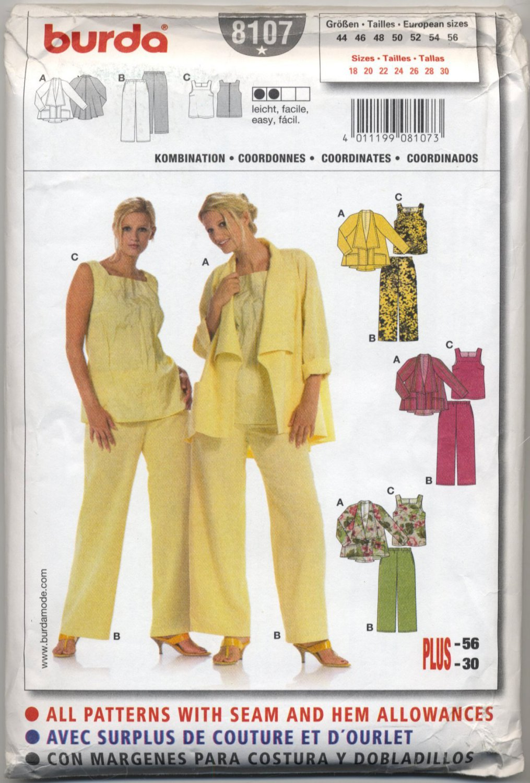 Burda 8107 Blouse, Pants & Jacket Easy Sewing Pattern Plus Size 18 20 22 24 26 28 30