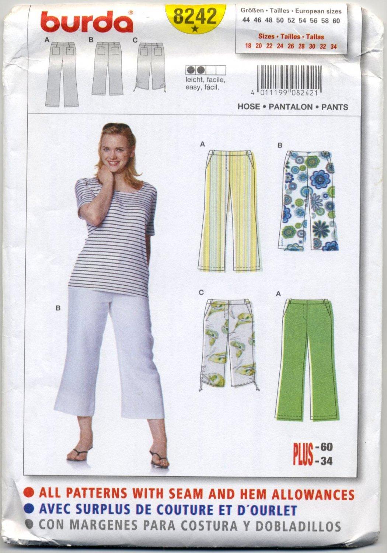 Burda 8242 Pants - - Easy Sewing Pattern Plus Size 18 20 22 24 26 28 30 32 34